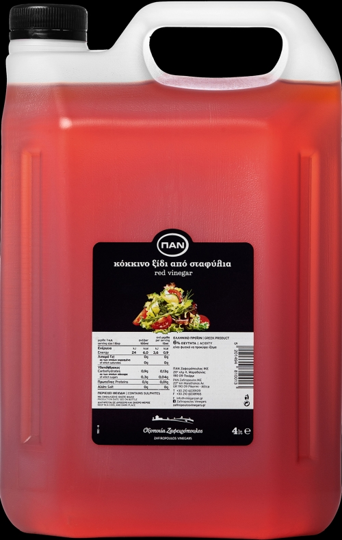PAN REAL RED VINEGAR, 4lt plastic container